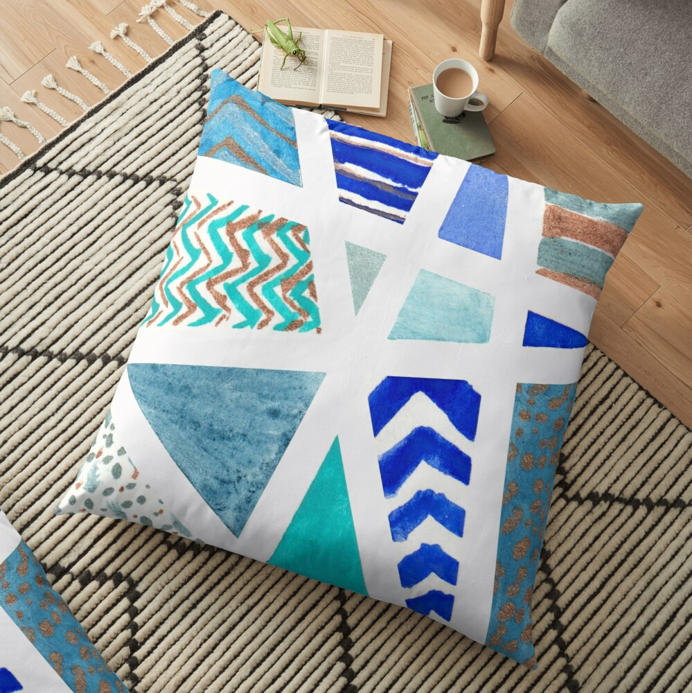 Unique Blue and Gold Tape Resist Watercolor Floor Pillow