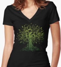 Meditate, Meditation, Spiritual Tree Yoga Women's Fitted V-Neck T-Shirt