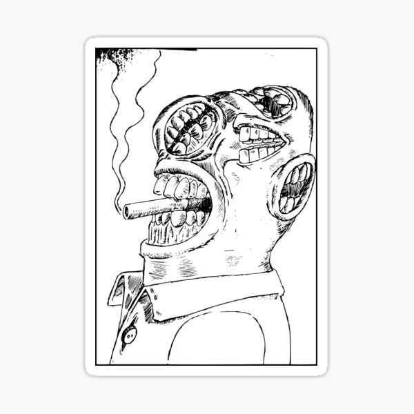 multiple mouths to feed while smoking a cigarette Sticker