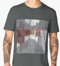 red, gray, orange, white, stairs and walls, abstract architectural drawings Men's Premium T-Shirt