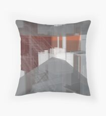 red, gray, orange, white, stairs and walls, abstract architectural drawings Throw Pillow