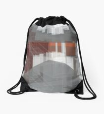 red, gray, orange, white, stairs and walls, abstract architectural drawings Drawstring Bag