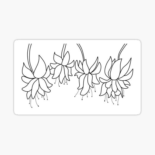 Botanical Line Art Digitized Drawing Sticker