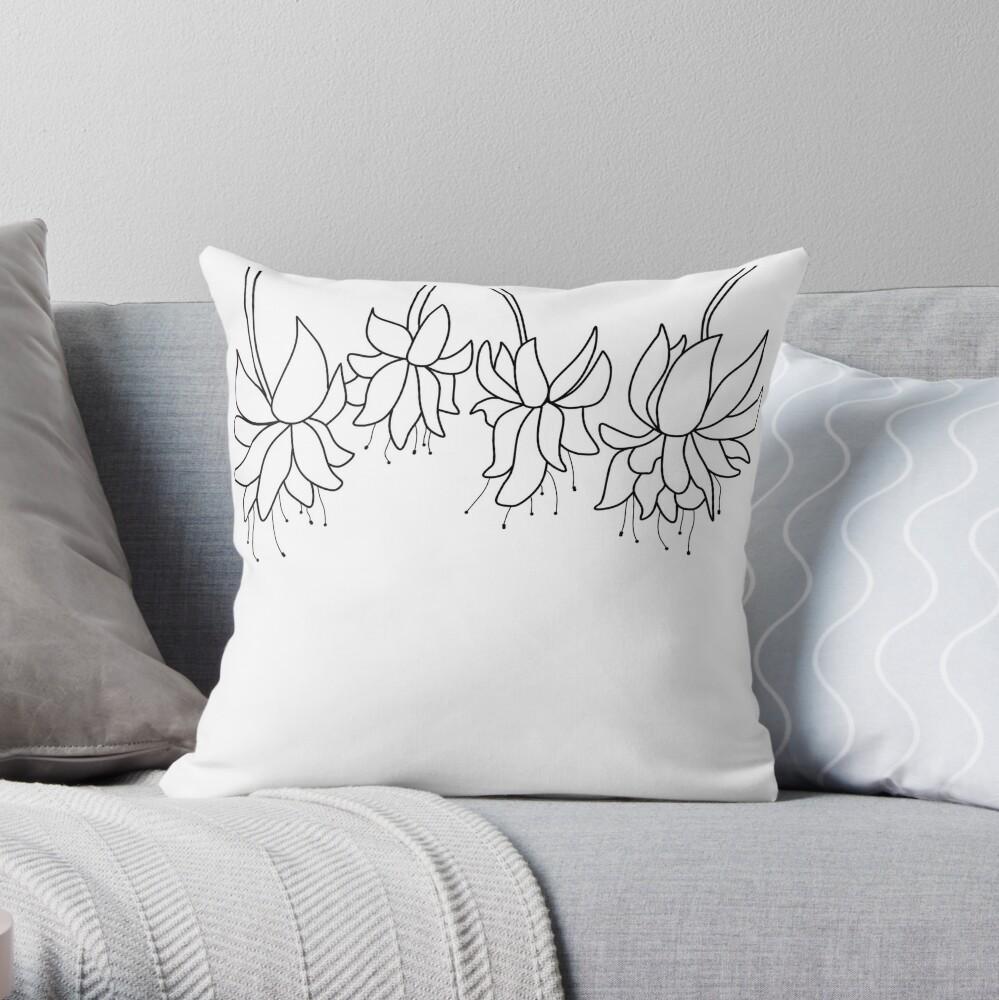 Botanical Line Art Digitized Drawing Throw Pillow