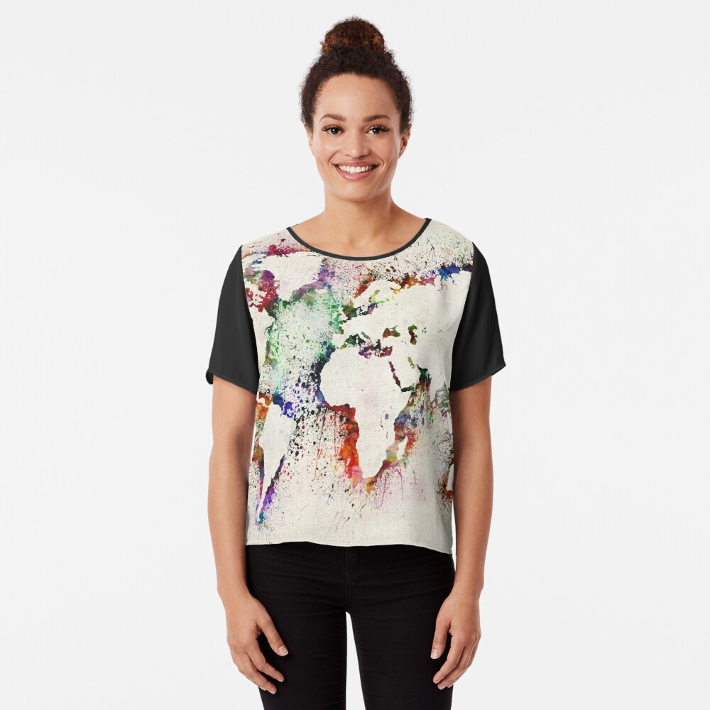 Map of the World Paint Splashes Chiffon Top