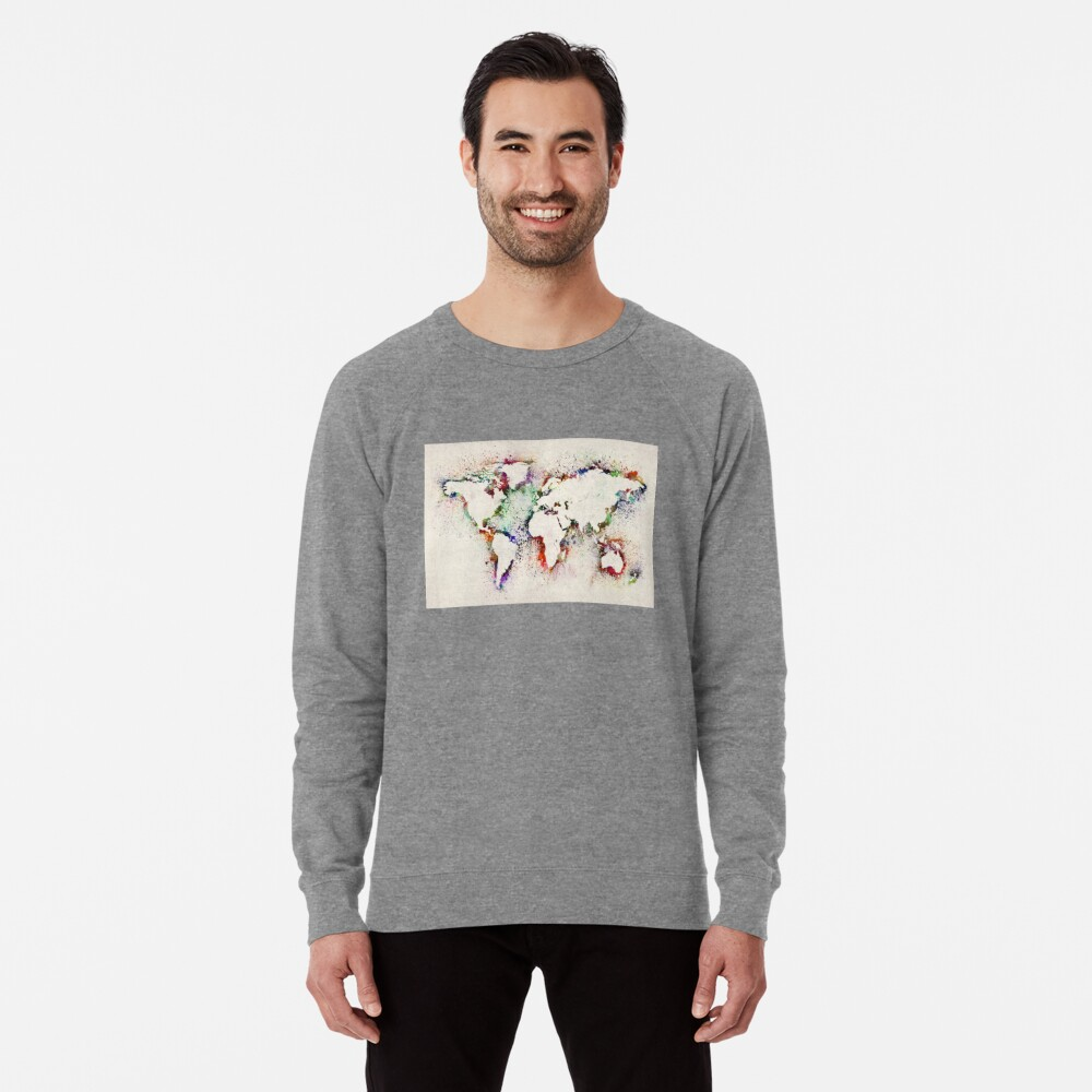 Map of the World Paint Splashes Lightweight Sweatshirt