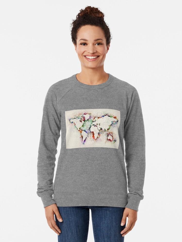 Alternate view of Map of the World Paint Splashes Lightweight Sweatshirt