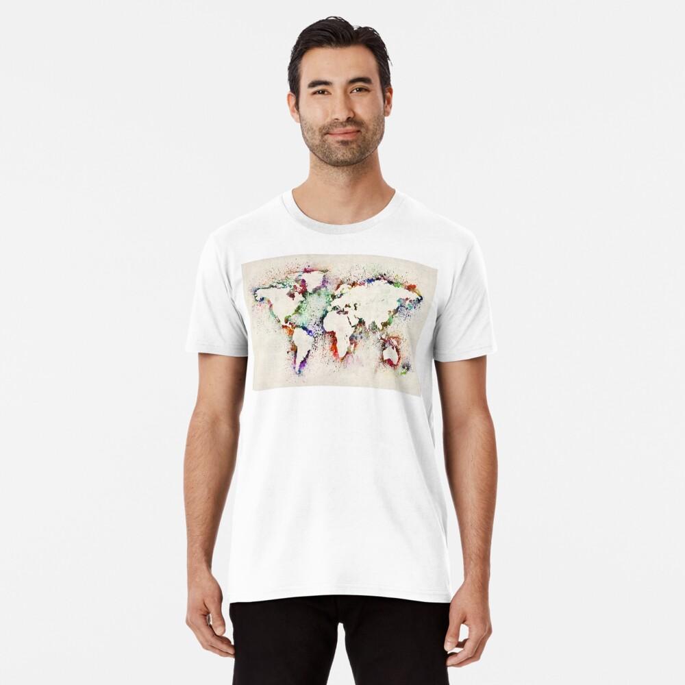Map of the World Paint Splashes Premium T-Shirt