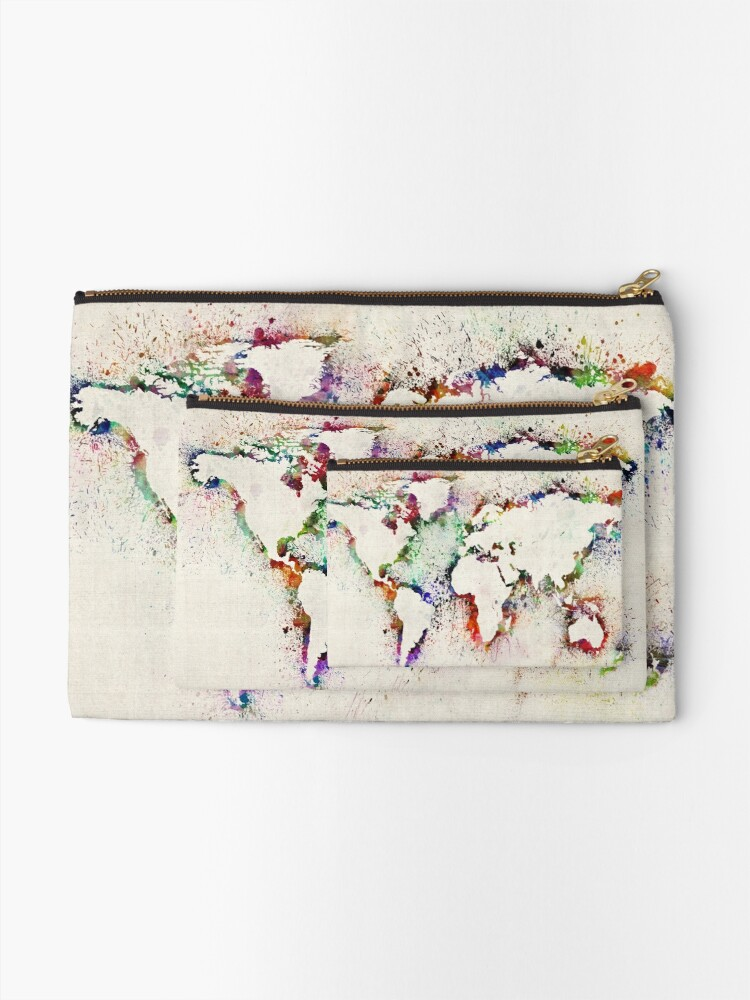 Alternate view of Map of the World Paint Splashes Zipper Pouch