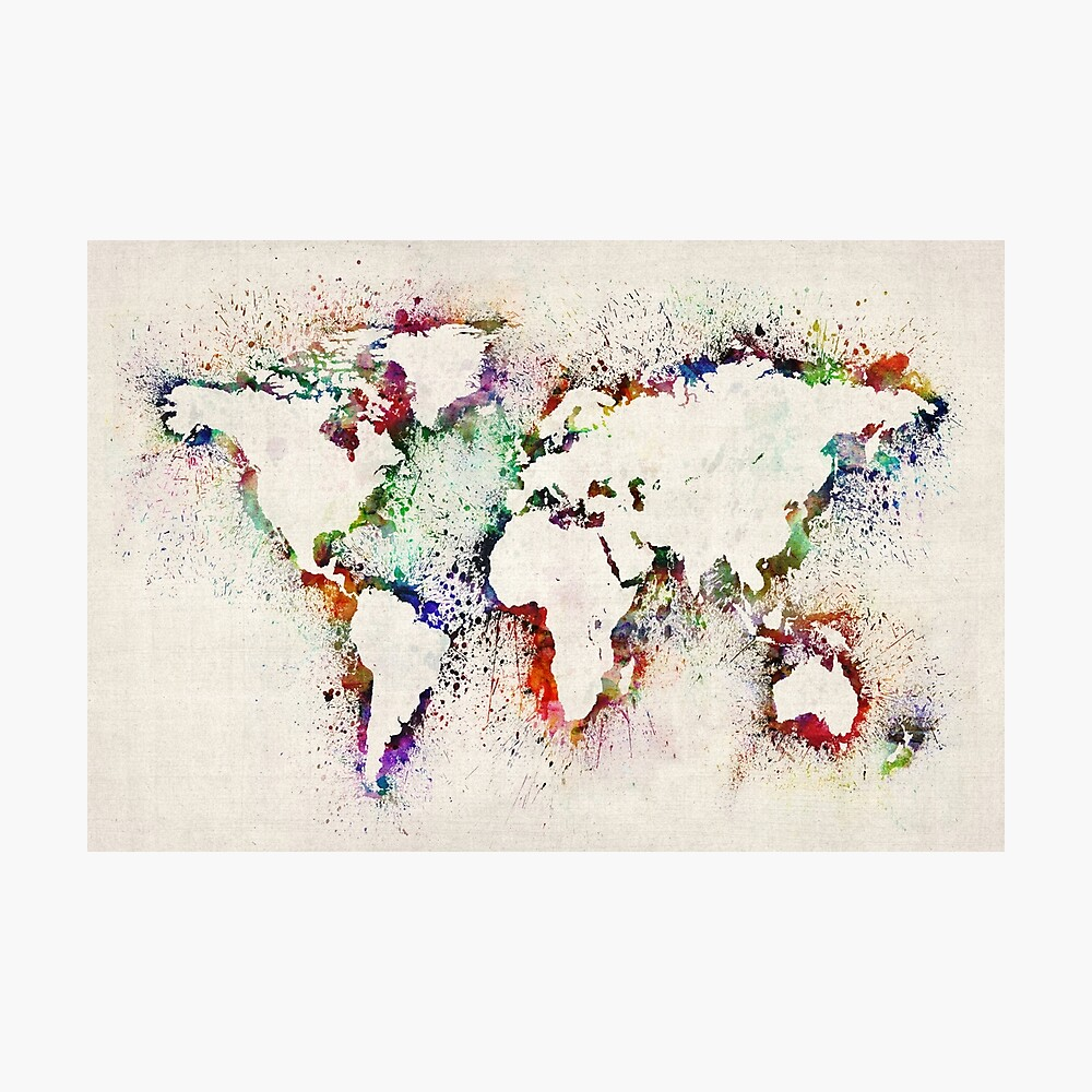 Map of the World Paint Splashes Photographic Print