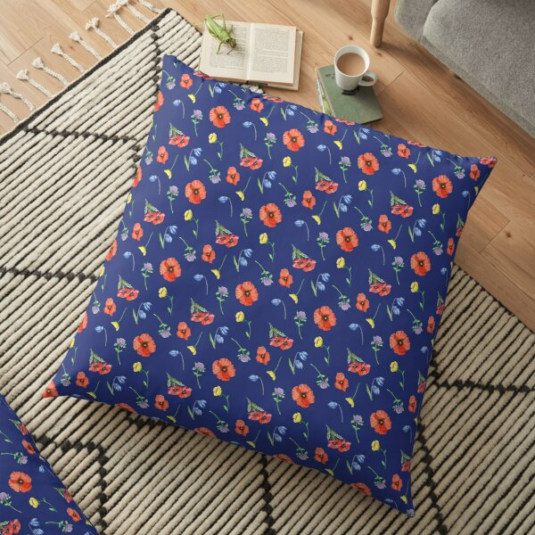 Wildflower Pattern With Red Poppies  Floor Pillow