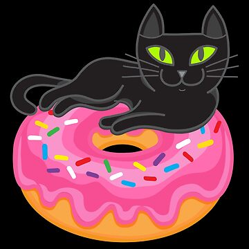 My black cat loves donuts by plushism