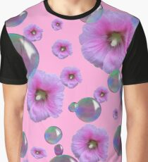 PINK-PURPLE FLOATING HOLLYHOCKS & SOAP BUBBLES Graphic T-Shirt