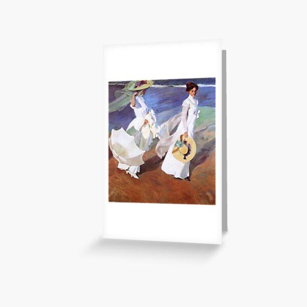 Joaquin Sorolla Women Walking on the Beach Impressionist Painting Greeting Card