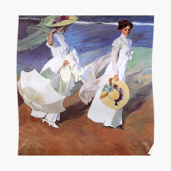Joaquin Sorolla Women Walking on the Beach Impressionist Painting Poster