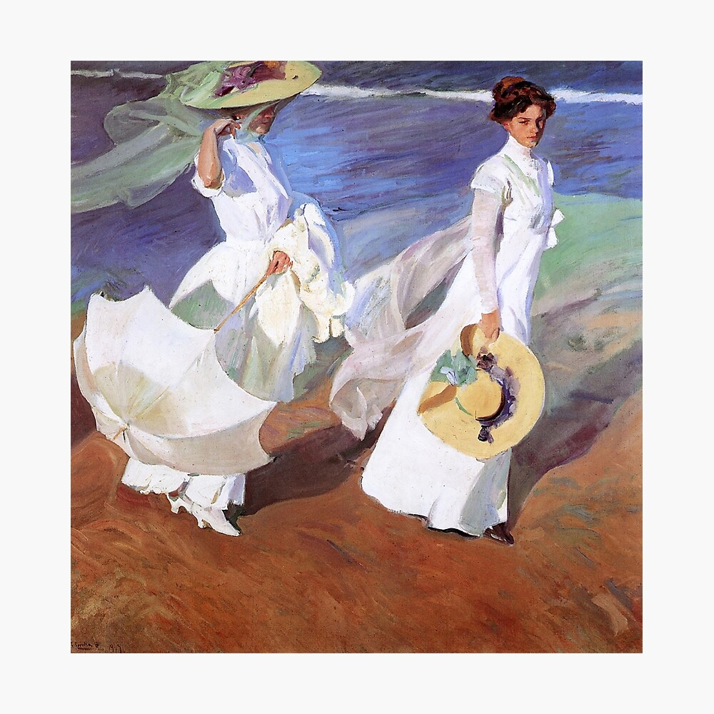 Joaquin Sorolla Women Walking On The Beach Impressionist Painting Metal Print By Antiqueart Redbubble