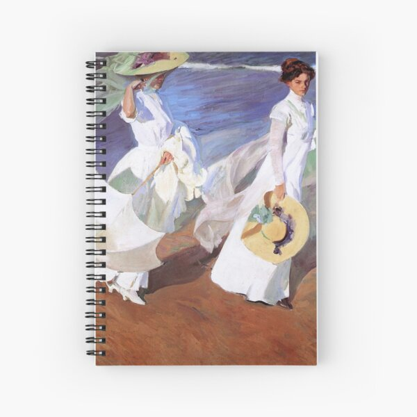 Joaquin Sorolla Women Walking on the Beach Impressionist Painting Spiral Notebook