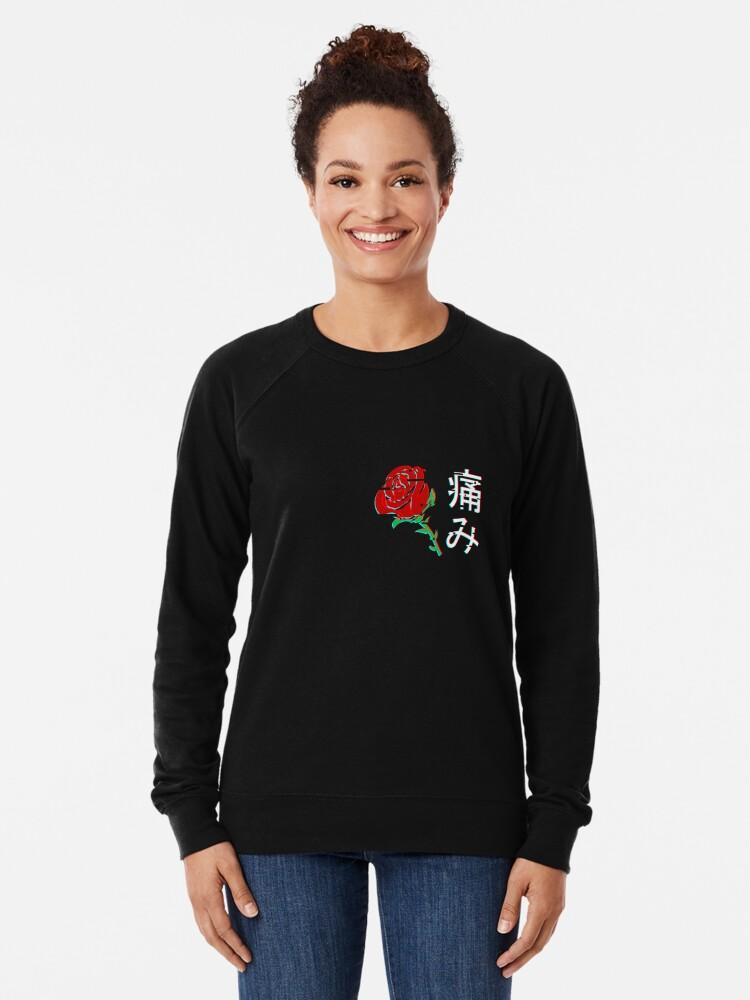 Alternate view of Japanese Aesthetic Rose v4 Lightweight Sweatshirt