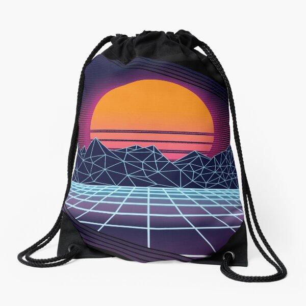 Outrun Sunset Drawstring Bag