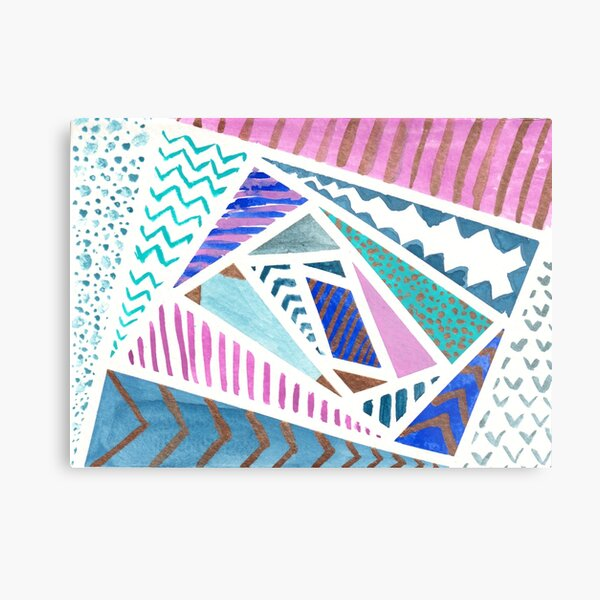 Pink Blue and Gold Watercolor Tape Resist Painting Metal Print