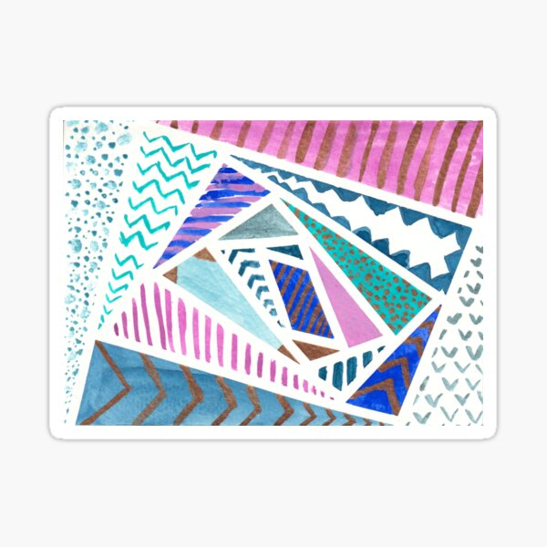 Pink Blue and Gold Watercolor Tape Resist Painting Sticker
