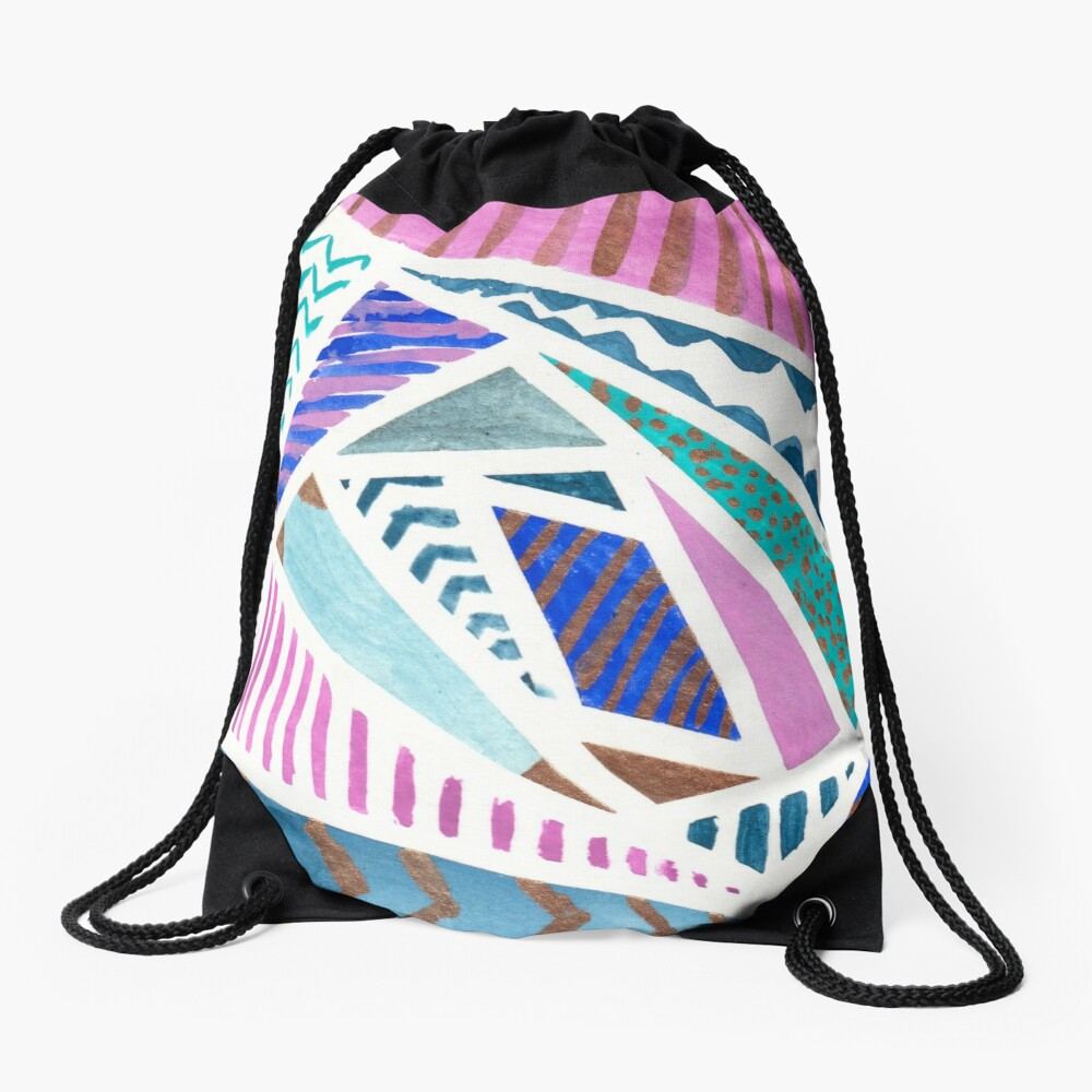 Pink Blue and Gold Watercolor Tape Resist Painting Drawstring Bag