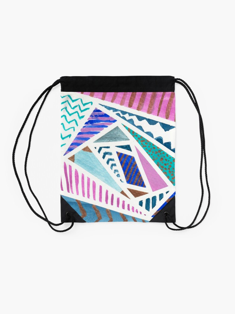 Alternate view of Pink Blue and Gold Watercolor Tape Resist Painting Drawstring Bag