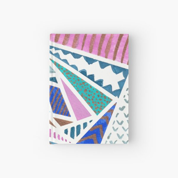 Pink Blue and Gold Watercolor Tape Resist Painting Hardcover Journal