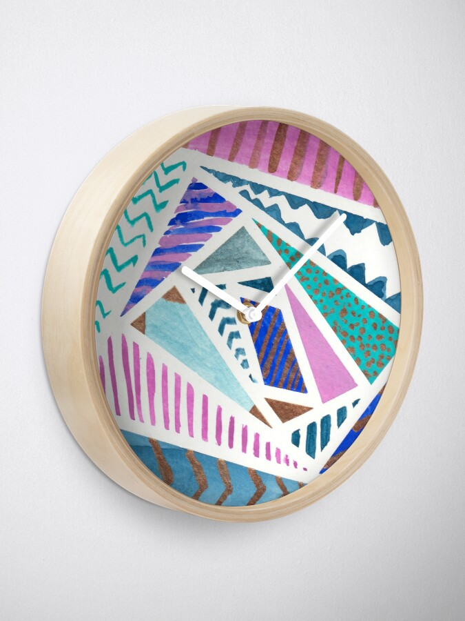 Alternate view of Pink Blue and Gold Watercolor Tape Resist Painting Clock