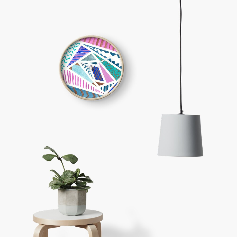 Pink Blue and Gold Watercolor Tape Resist Painting Clock