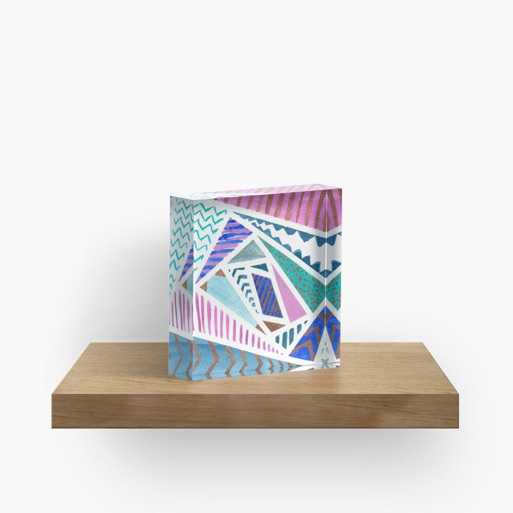 Pink Blue and Gold Watercolor Tape Resist Painting Acrylic Block