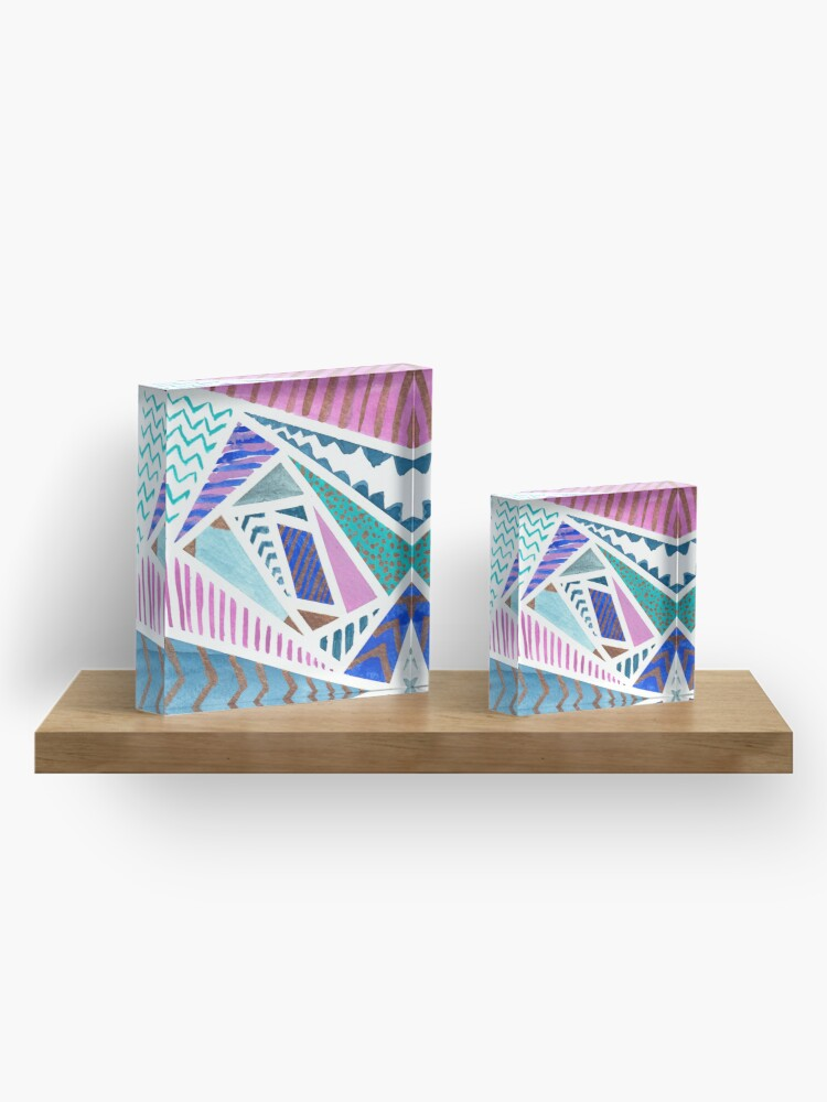 Alternate view of Pink Blue and Gold Watercolor Tape Resist Painting Acrylic Block