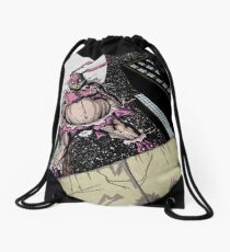 The Pink Bunny Saves Drawstring Bag