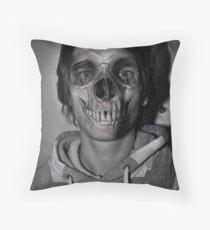 hooded skull Throw Pillow