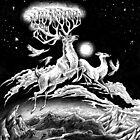 Reindeer Midnight Flight - Original Pen Drawing by Carissa LaPreal