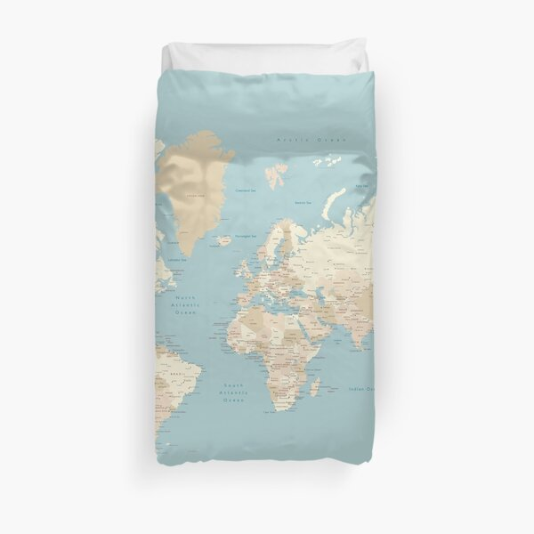 "Cream, brown and muted teal world map, ""Jeff"" Duvet Cover"