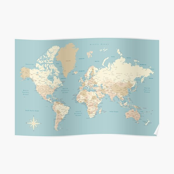 """Cream, brown and muted teal world map, """"Jeff"""" Poster"""