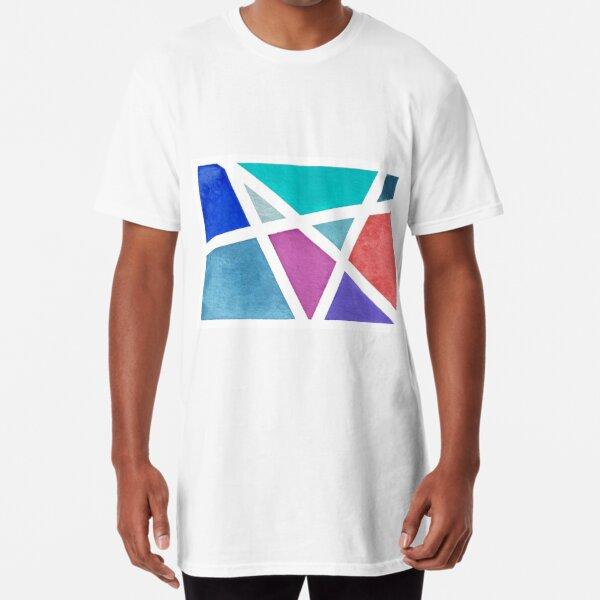 Large Tape Resist Watercolor Painting Long T-Shirt