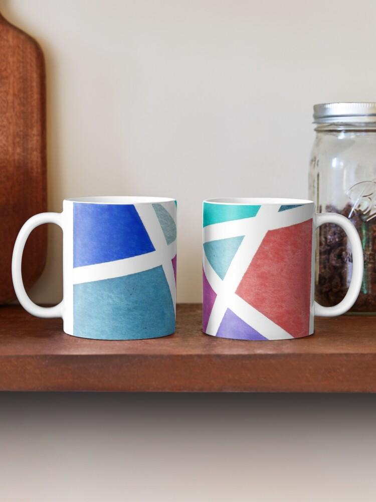 Alternate view of Large Tape Resist Watercolor Painting Mug