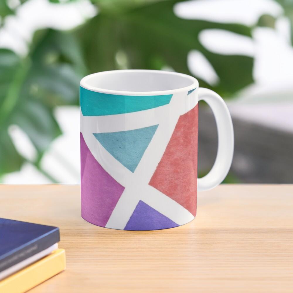 Large Tape Resist Watercolor Painting Mug