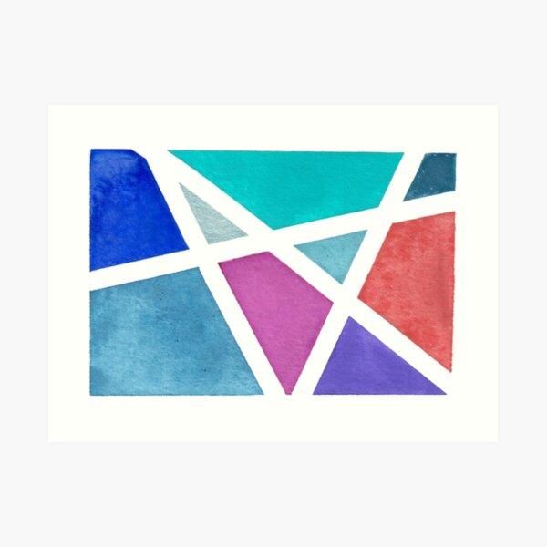 Large Tape Resist Watercolor Painting Art Print