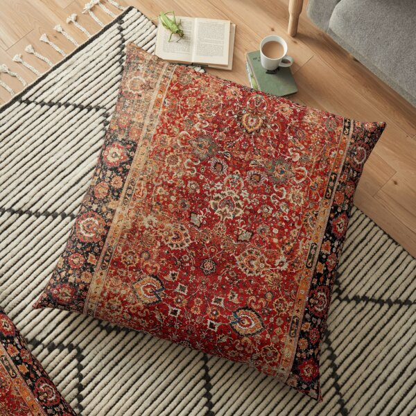 17th Century Afghanistan Rug Print Floor Pillow