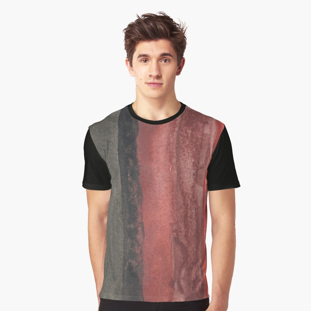 Vertical Red and Black Stripe Watercolor Painting Graphic T-Shirt