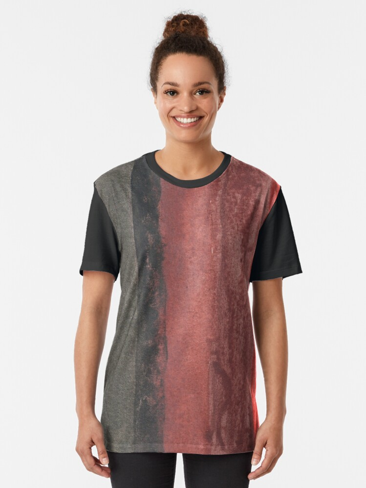 Alternate view of Vertical Red and Black Stripe Watercolor Painting Graphic T-Shirt