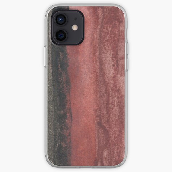 Vertical Red and Black Stripe Watercolor Painting iPhone Soft Case