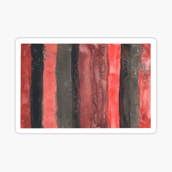 Vertical Red and Black Stripe Watercolor Painting Sticker