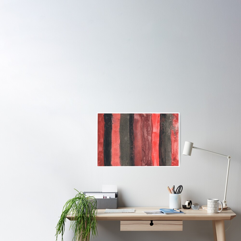 Vertical Red and Black Stripe Watercolor Painting Poster