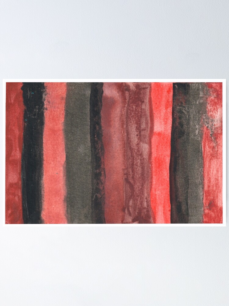 Alternate view of Vertical Red and Black Stripe Watercolor Painting Poster