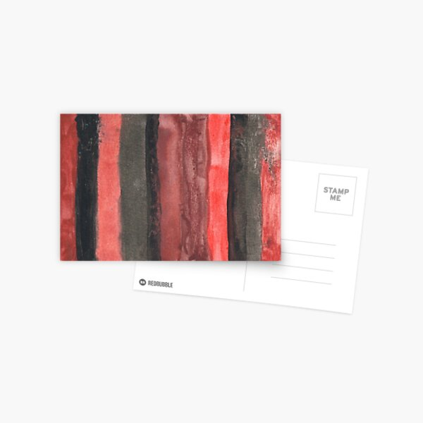 Vertical Red and Black Stripe Watercolor Painting Postcard