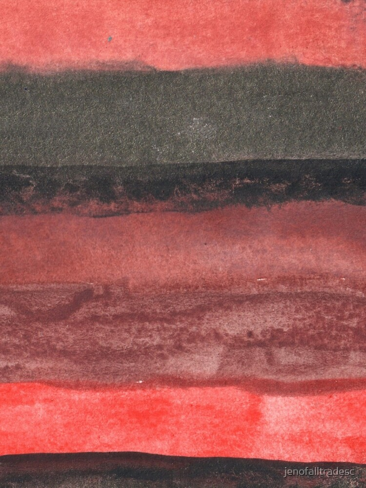 Vertical Red and Black Stripe Watercolor Painting by jenofalltradesc